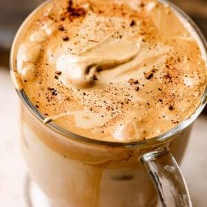 close up of dalgona coffee