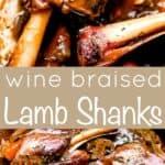 wine braised lamb shanks pinterest image