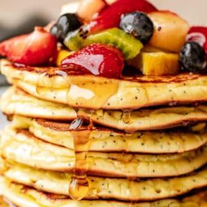 stacked low carb lemon poppyseed pancakes