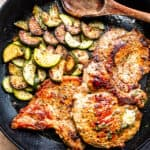 Garlic Butter Fried Pork Chops with Zucchini | Low Carb Keto-Friendly Dinner Recipe