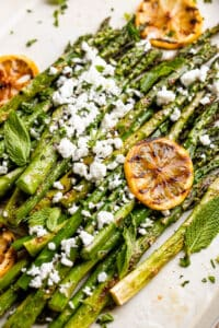 Grilled Asparagus with Lemon Dressing and Feta Cheese