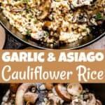 Garlic Asiago Cauliflower Rice Collage Pinterest Image