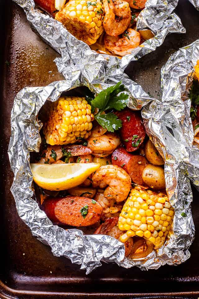 top view of shrimp boil packets