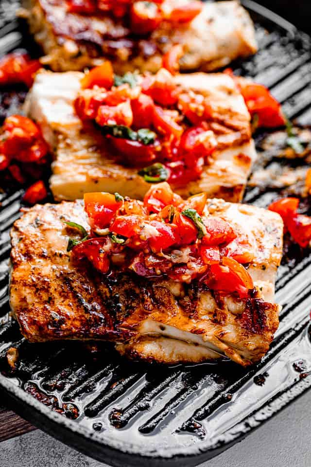 cooking mahi mahi in a grill pan
