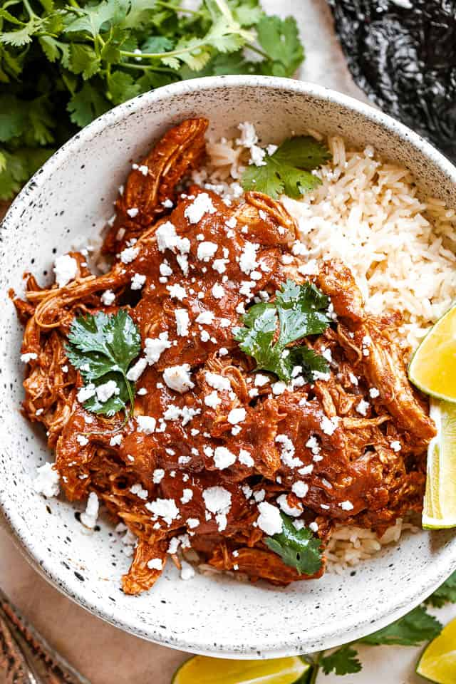 top view of Instant Pot Chicken Mole served in a bowl with rice and sprinkled with cheese and cilantro
