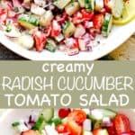Radish Cucumber Tomato Salad pinterest image