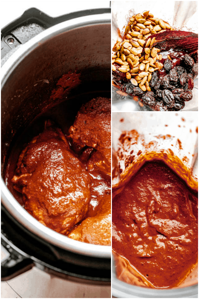 collage with 3 pictures with step by step making of a chicken mole sauce