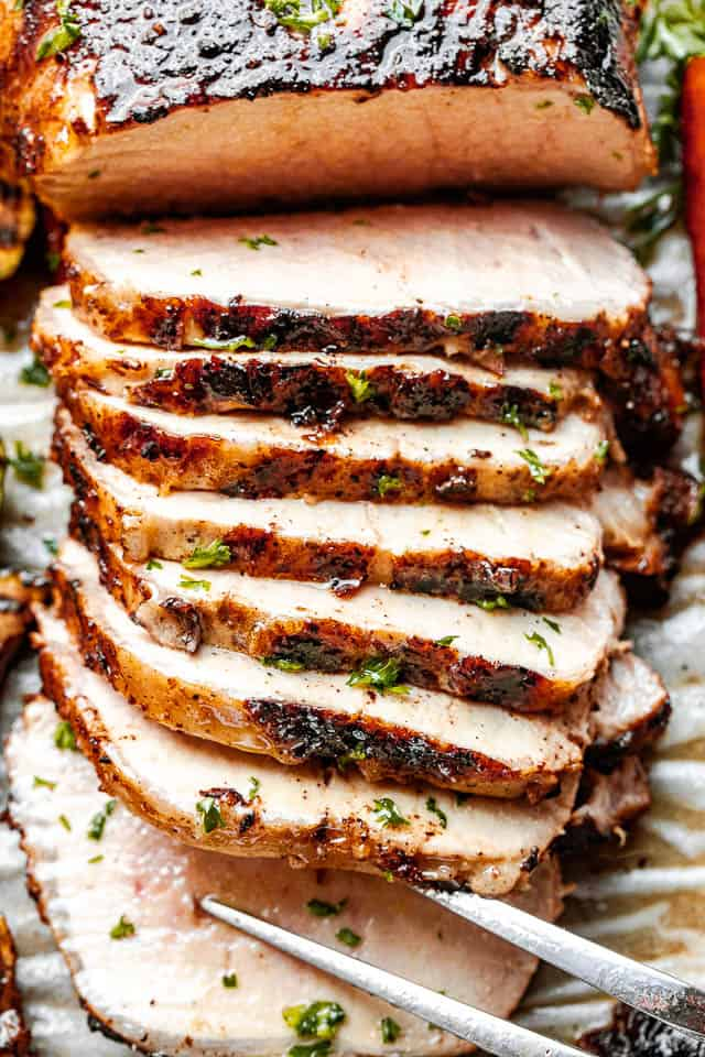 close up top view shot of sliced grilled pork loin