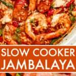 Slow Cooker Cajun Jambalaya long Pinterest image