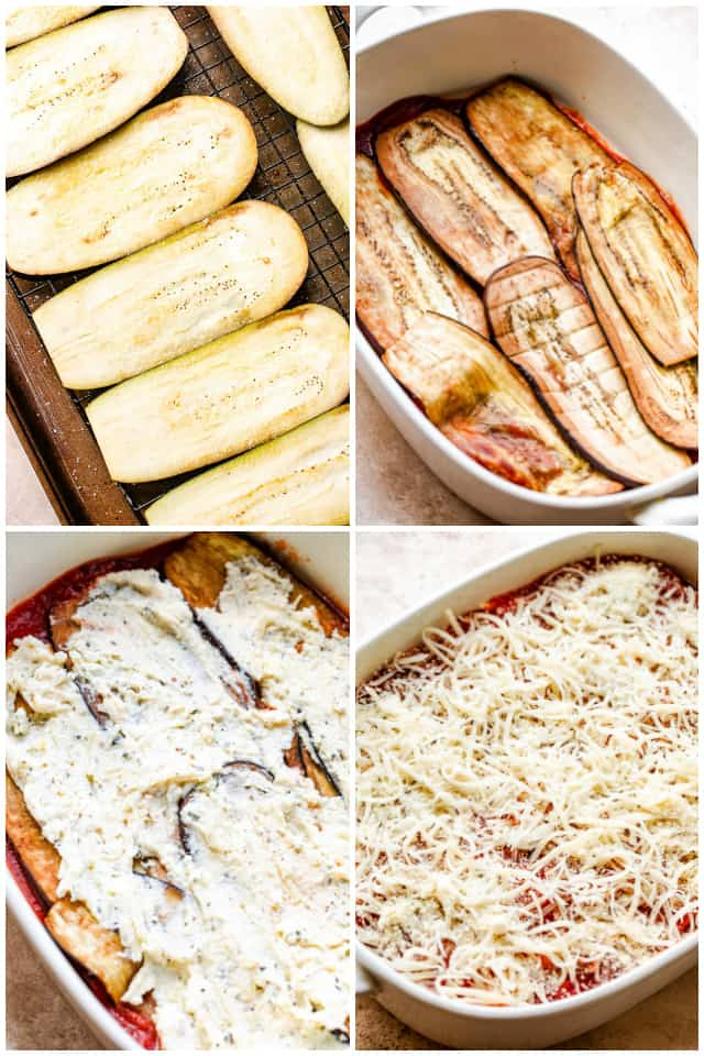 step by step collage of making eggplant lasagna
