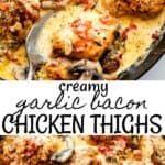 Creamy Bacon Chicken Thighs long pinterest image