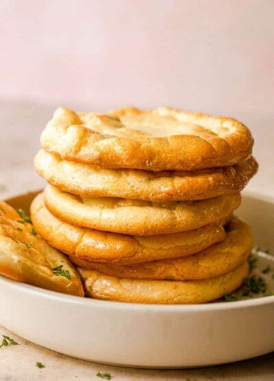 side shot of stacked up cloud bread slices