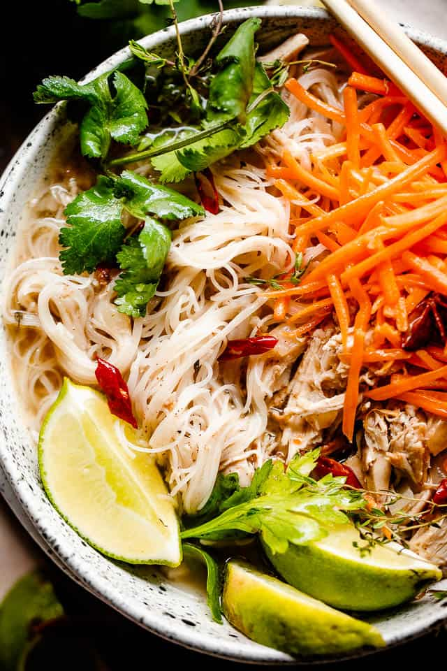 overhead shot of vietnamese pho in a bowl