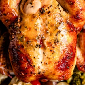 overhead close up shot of a whole roasted chicken served over veggies