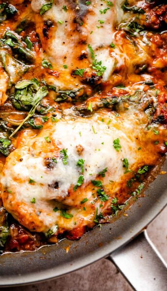 overhead close up shot of a skillet with cooked chicken breasts in tomato sauce