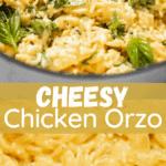 cheesy chicken orzo pinterest image