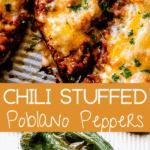 Chili Stuffed Poblano Peppers pinterest image