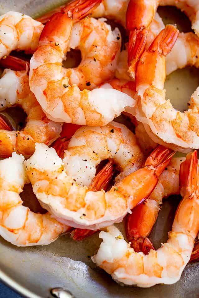 cooked shrimp in a skillet
