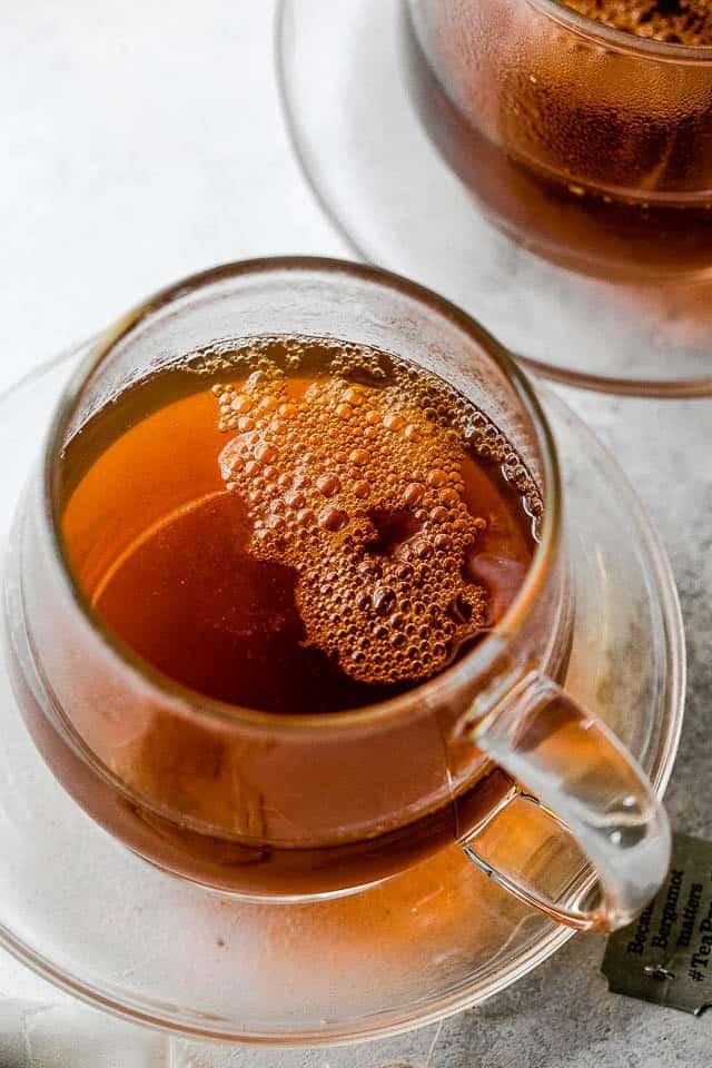 earl gray tea in a glass mug