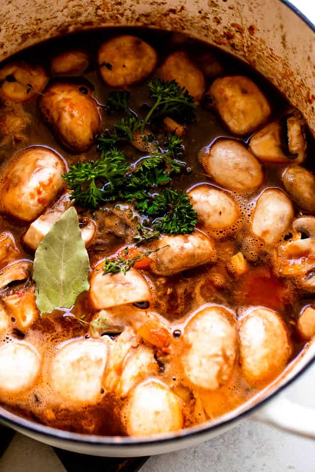 cooking mushrooms in wine sauce for Beef Bourguignon
