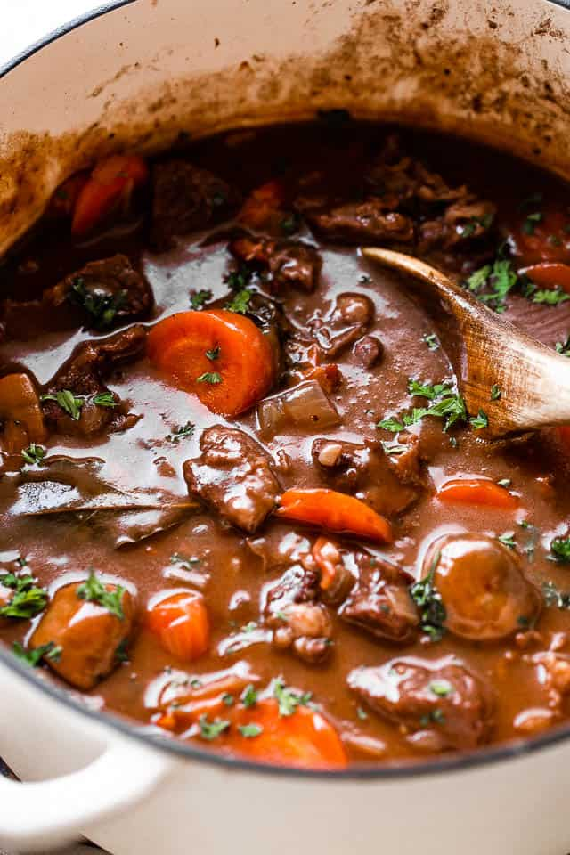 stirring through Beef Bourguignon