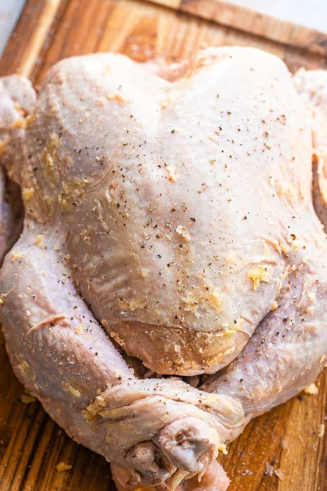 buttered raw whole spatchcock turkey