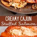 Cajun Stuffed Salmon long collage pin image