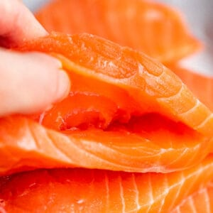 raw salmon fillets with pockets