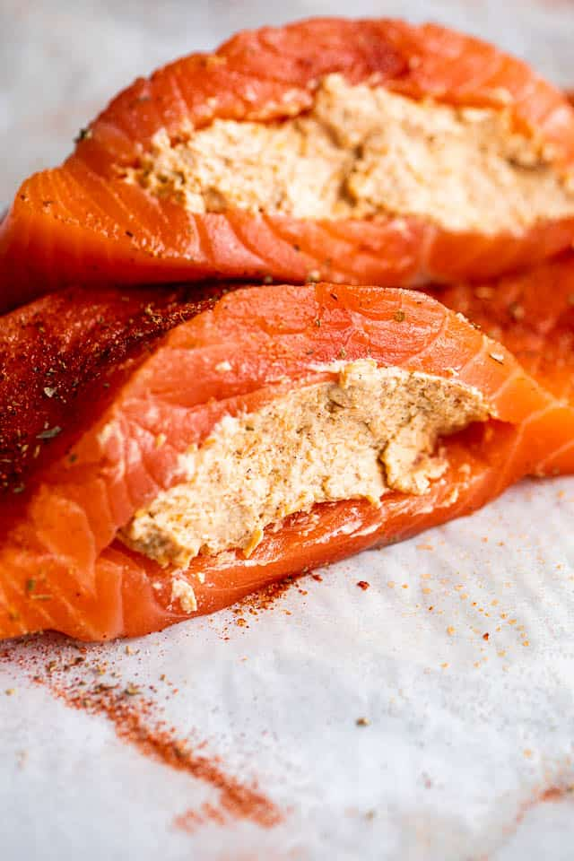 raw salmon fillets filled with creamy cajun filling