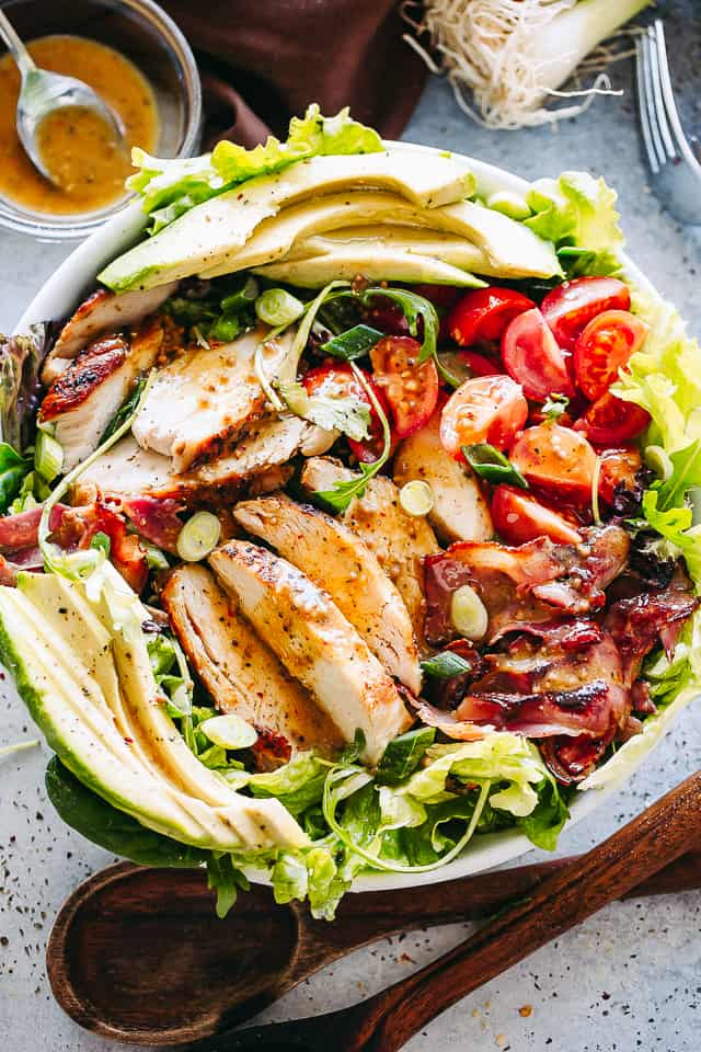 chicken salad with bacon and avocados