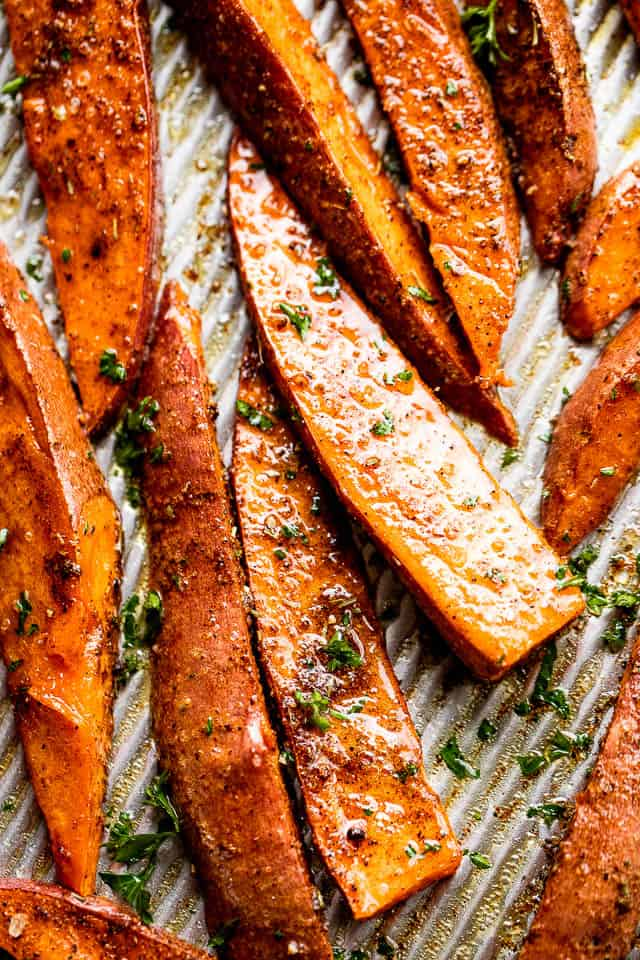 up close shot of roasted sweet potato wedges