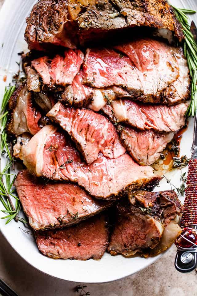 sliced prime rib roast served on a platter