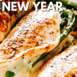 photo of asparagus stuffed chicken breasts with overlay text