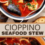 Cioppino Seafood Stew two picture collage pin