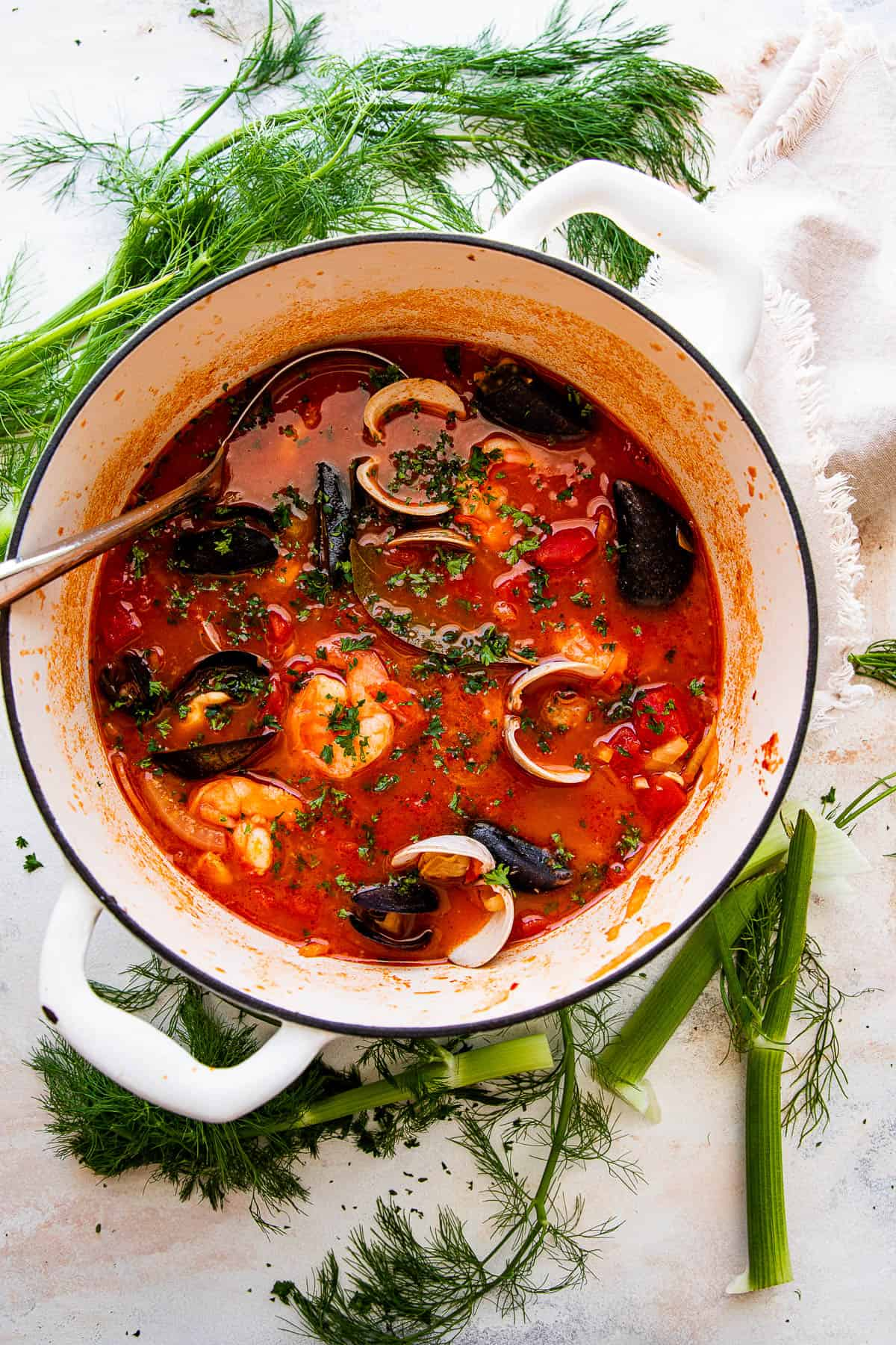 wide overhead close up photo of cioppino in a dutch oven