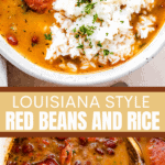 Red beans and rice two picture collage pin