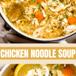 chicken noodle soup two picture collage pin