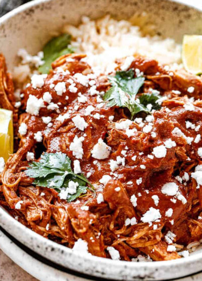A bowl filled with rice and chicken mole.