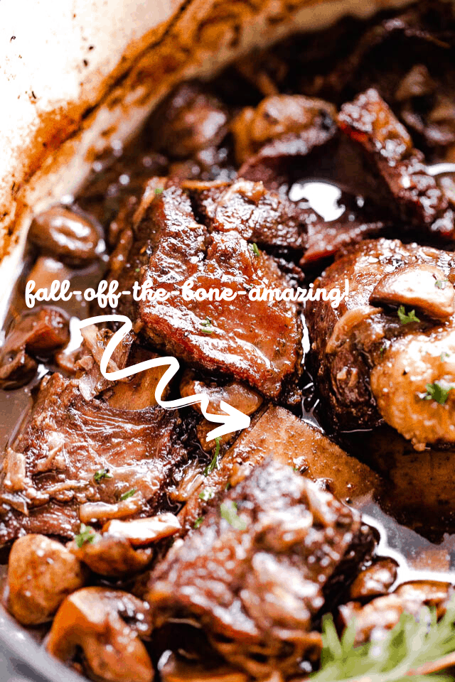 overhead shot of short ribs in red wine sauce with text overlay