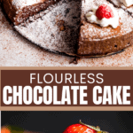 flourless chocolate cake two picture collage pin