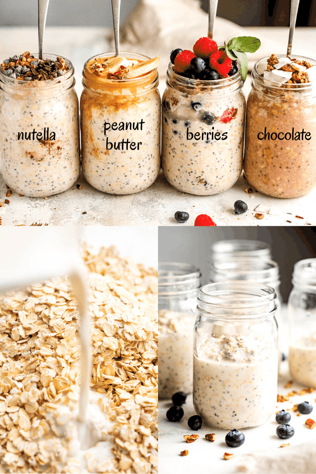 collage of step by step photos for making overnight oats