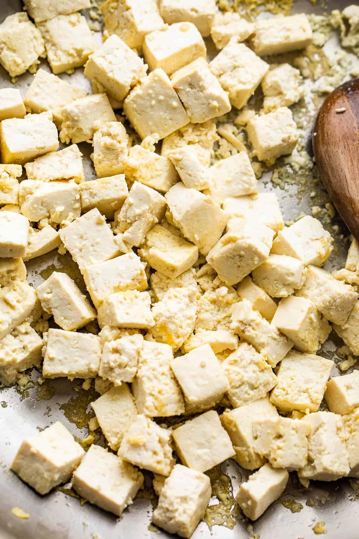 frying cubed tofu