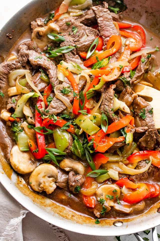 beef stir fry in a skillet
