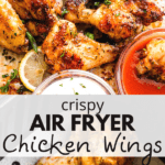 Air Fryer Chicken Wings two picture collage pin