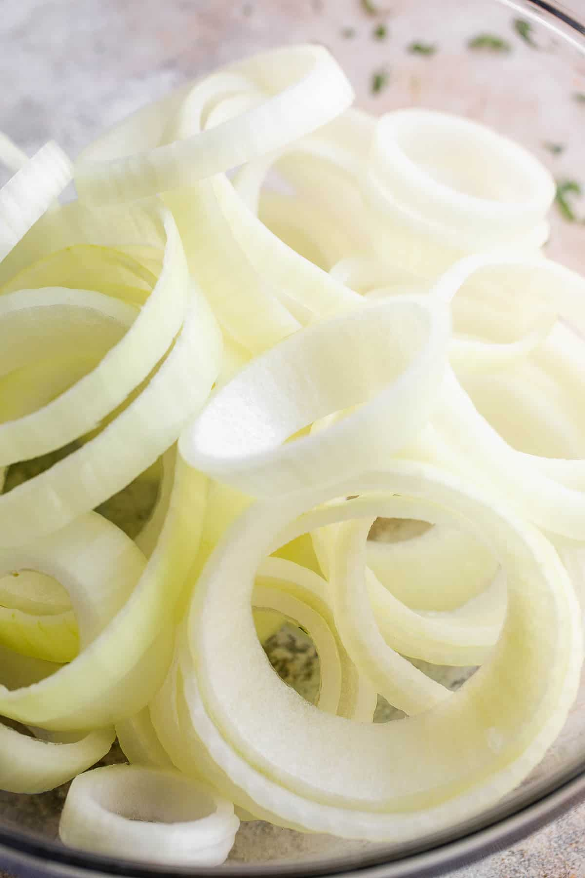 raw onions cut into thick rings