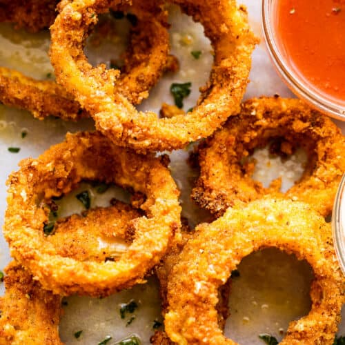 close up overhead shot of air fried onion rings