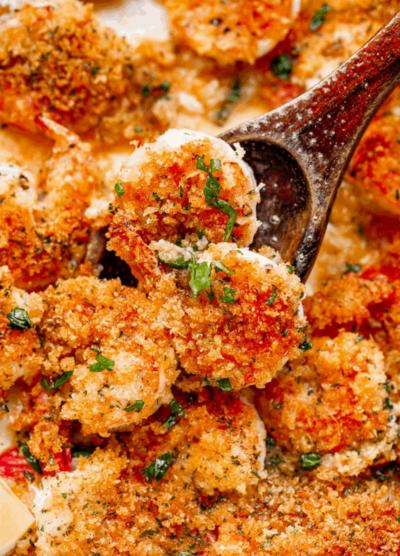 Close-up of baked shrimp scampi