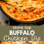 Stovetop Buffalo Chicken Dip two picture collage pin