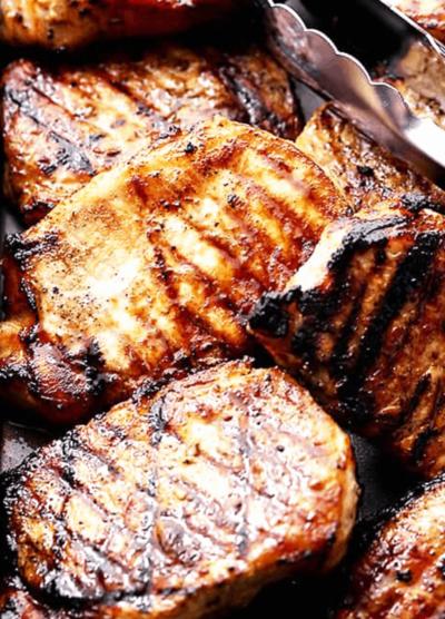 Close-up of Honey Soy Grilled Pork Chops