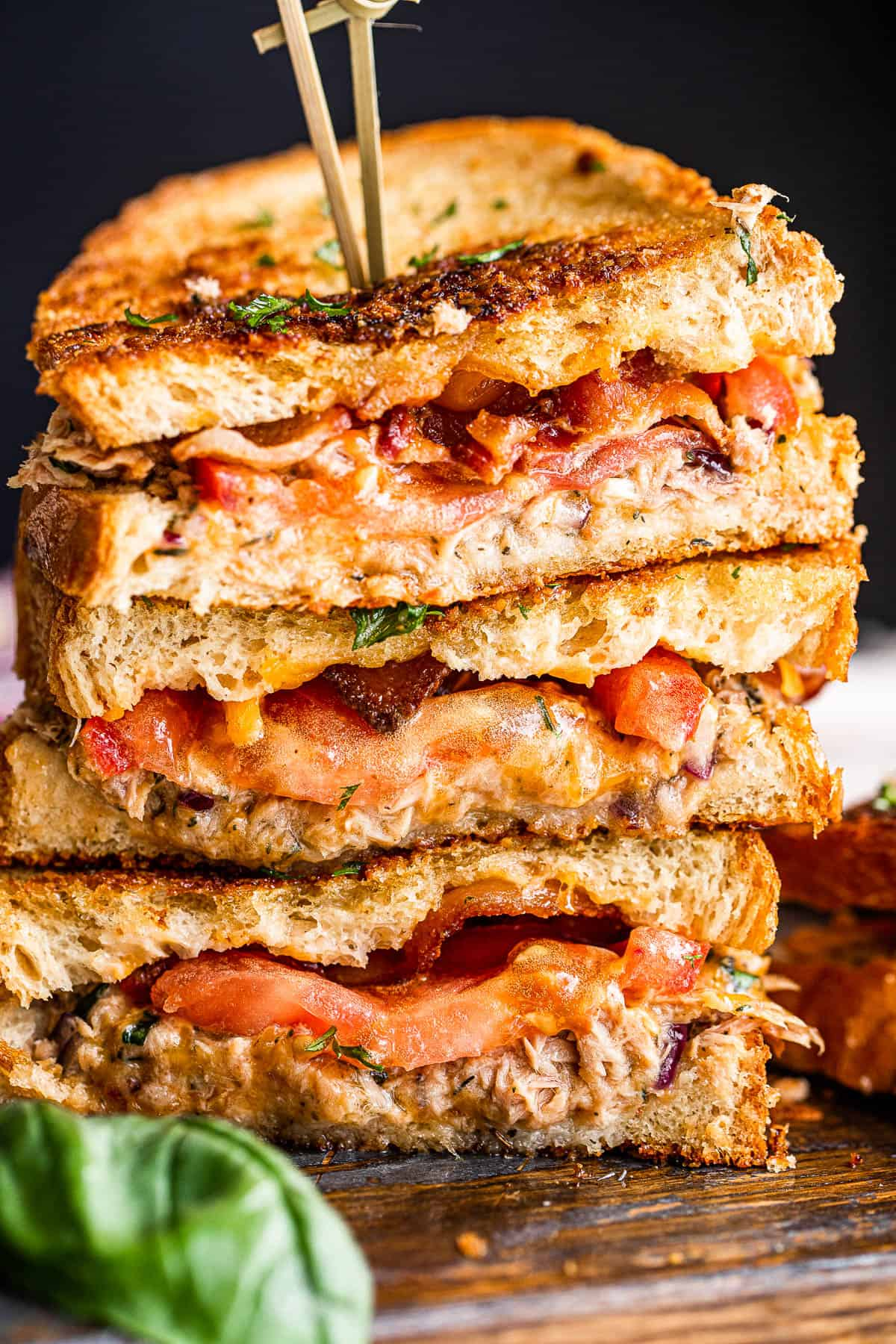 stacked tuna melt sandwich